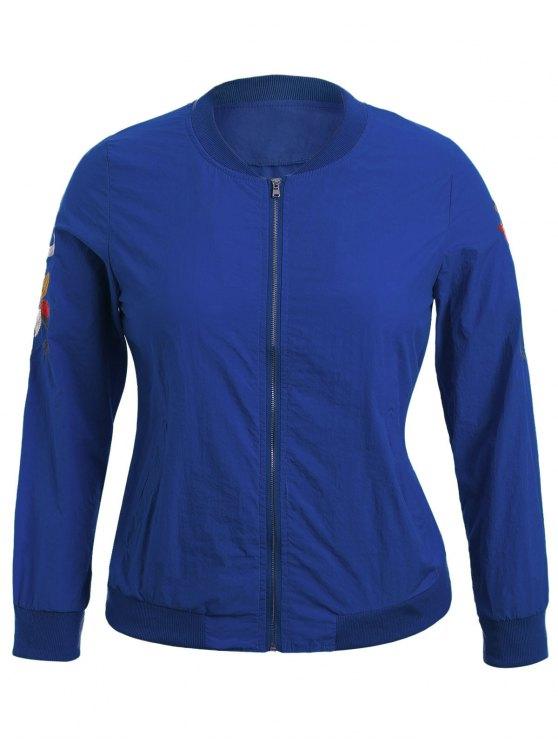 womens Zippered Floral Embroidered Sun Block Jacket - BLUE XL