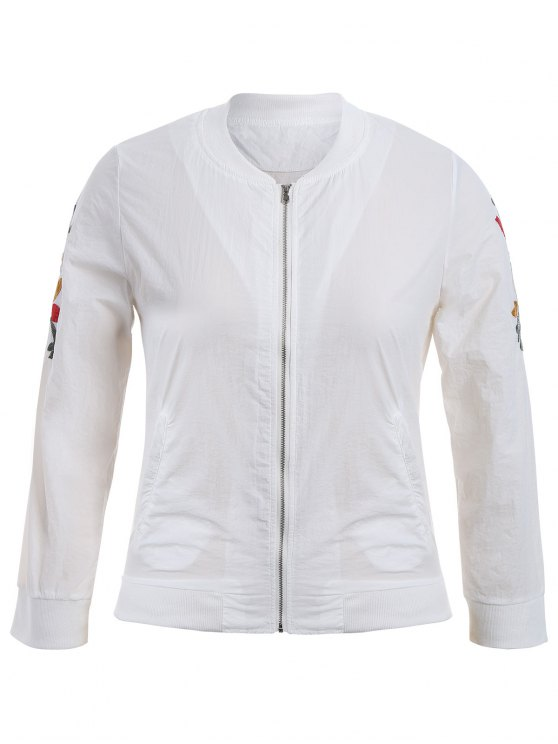 fashion Zippered Floral Embroidered Sun Block Jacket - WHITE XL