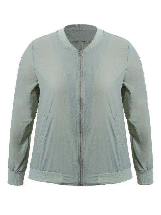 women's Zippered Floral Embroidered Sun Block Jacket - LIGHT GREY XL