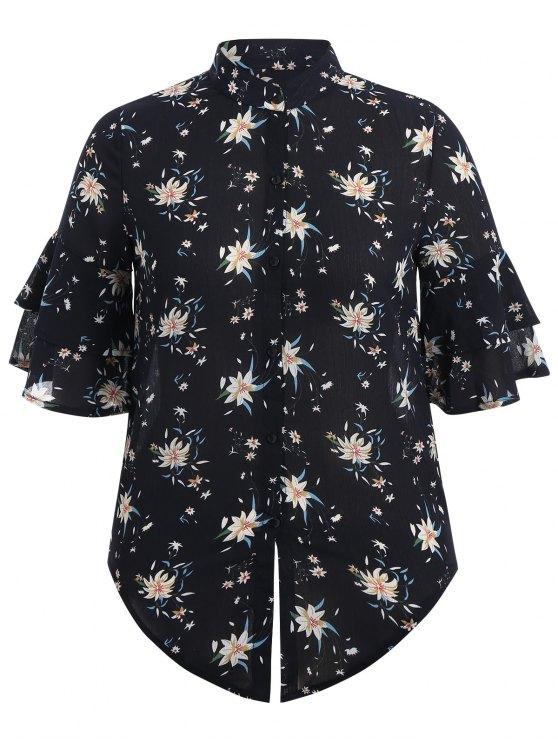 hot Flare Sleeve Floral Plus Size Blouse - PURPLISH BLUE 3XL