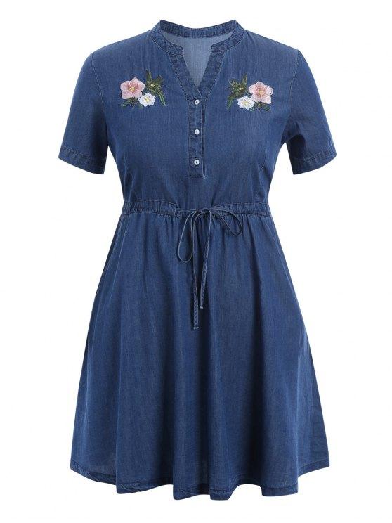 outfit Embroidered Drawstring Plus Size Denim Dress - DENIM BLUE 3XL