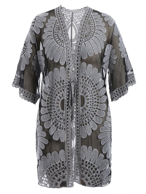 chic Kimono Self Tie Cover Up Dress - BLACK XL