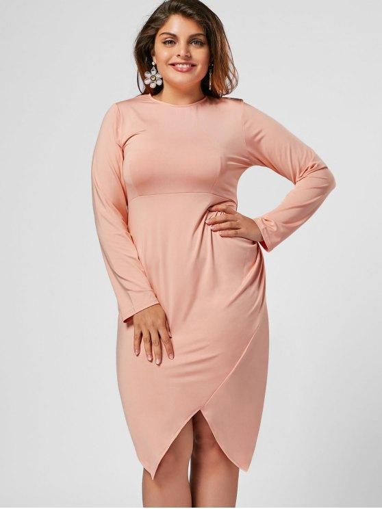 outfits Plus Size Asymmetrical Bodycon Dress - PINK 3XL