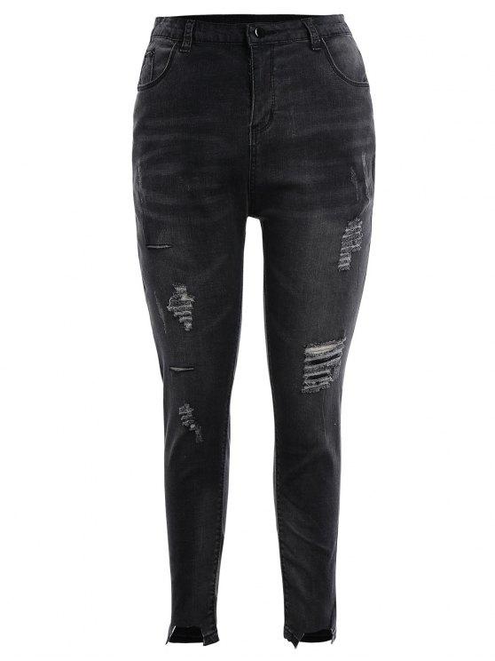 shops Skinny Plus Size Destroyed Pencil Jeans - BLACK GREY 4XL