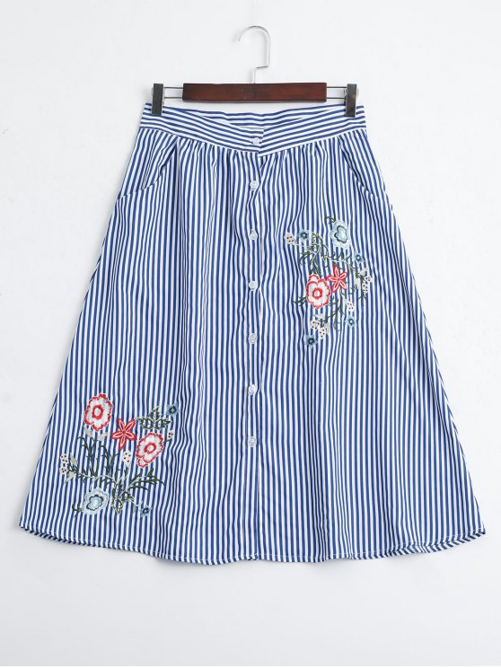 buy Stripes Embroidered Button Up A Line Skirt - STRIPE L