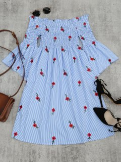 Floral Embroidered Flare Sleeve Striped Dress - Light Blue