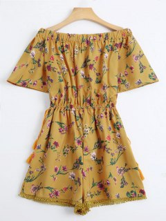Off The Shoulder Drawstring Floral Print Romper - Yellow Xs