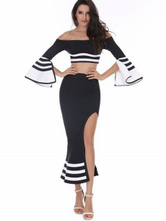 Striped Flare Sleeve Top And Skirt Set - Black M