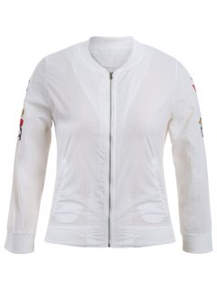 Zippered Floral Embroidered Plus Size Jacket - White 3xl