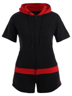 Plus Size American Flag Patriotic Hoodie With Shorts - Black 2xl