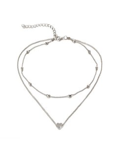 Heart Collarbone Layered Necklace - Silver