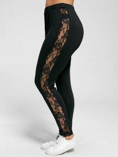 Plus Size Lace Insert Sheer Leggings - Black 5xl
