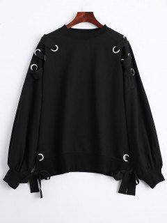 Pullover Lace Up Loose Sweatshirt - Black M