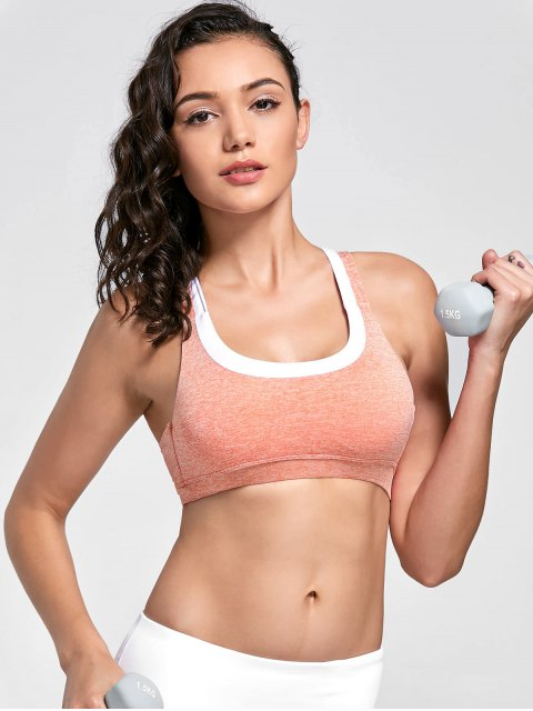 hot Marled Sweat Top Sports Bra - PINK L Mobile