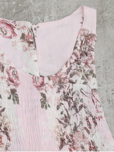 fancy Smocked Floral Half Buttoned Swing Dress - PINK XL Mobile