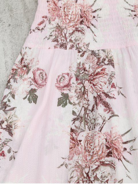 women Smocked Floral Half Buttoned Swing Dress - PINK S Mobile