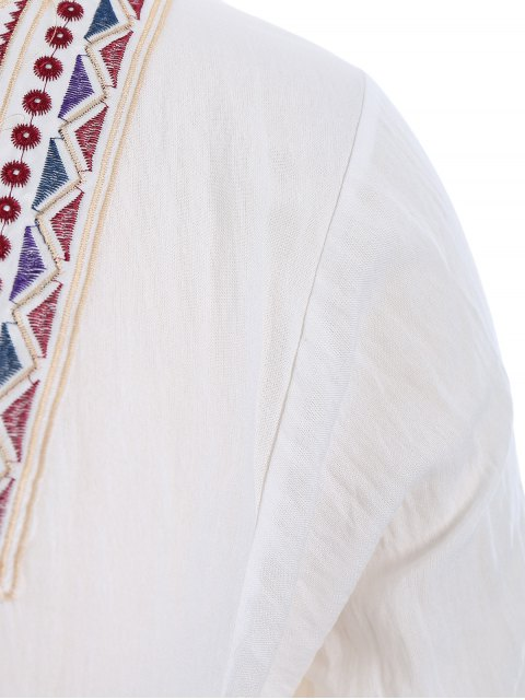 best Plus Size Embroidered Long Sleeves Peasant Top - WHITE XL Mobile