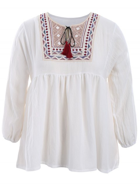 outfit Plus Size Embroidered Long Sleeves Peasant Top - WHITE 5XL Mobile