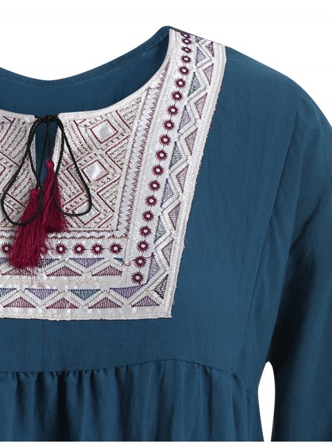 trendy Plus Size Embroidered Long Sleeves Peasant Top - CADETBLUE XL Mobile