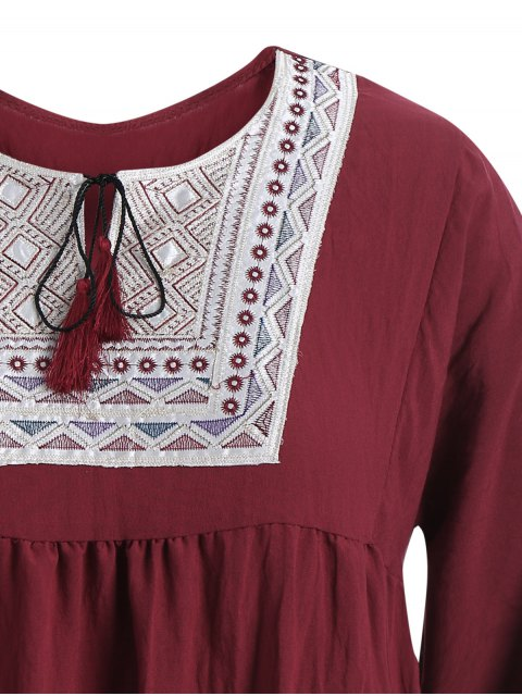 sale Plus Size Embroidered Long Sleeves Peasant Top - WINE RED XL Mobile