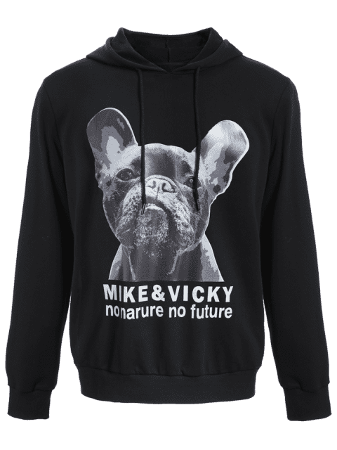 chic Puppy Graphic Mens Oversized Hoodie - BLACK XL Mobile