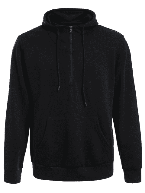 fancy Mens Front Pocket Oversized Pullover Hoodie - BLACK 5XL Mobile