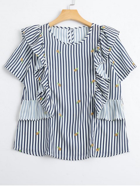 affordable Stripes Ruffles Pineapple Top - STRIPE L Mobile