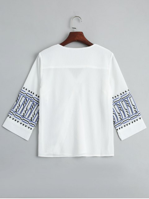 buy V Neck Embroidery Blouse - WHITE L Mobile
