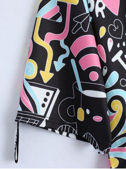 online Cartoon Print Drop Shoulder Tee - BLACK ONE SIZE Mobile