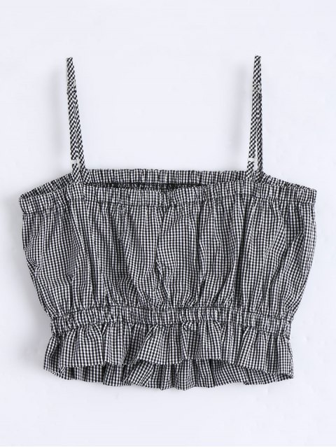 fashion Cami Ruffles Cropped Tank Top - CHECKED S Mobile