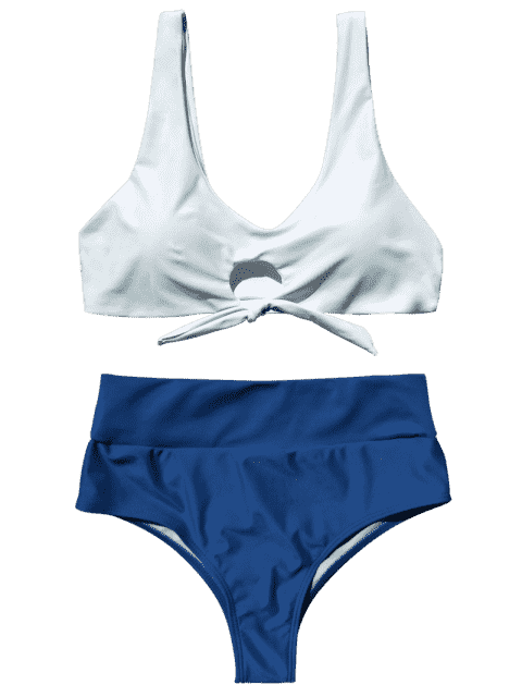affordable Scoop Color Block Tied Padded Bikini - WHITE L Mobile