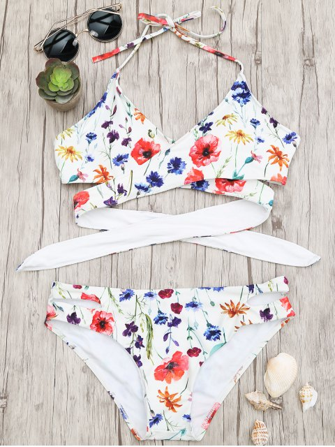 ladies Cut Out Tiny Floral Wrap Bikini - FLORAL S Mobile