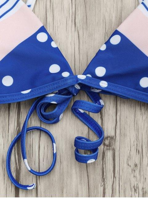 lady Padded Chevron Dot Print String Bikini Set - BLUE AND PINK L Mobile