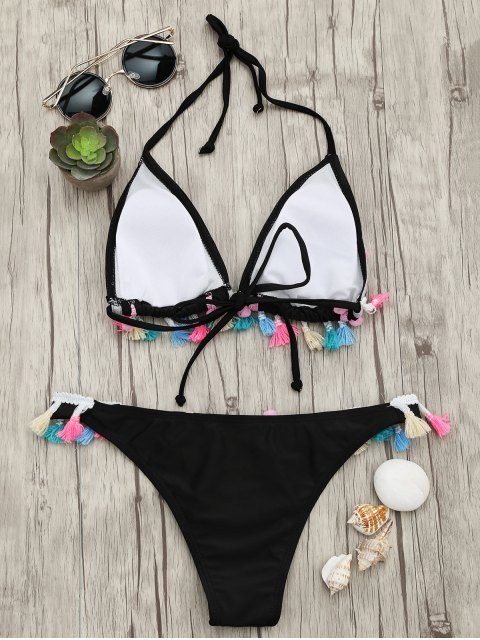 outfit Tassels Pom Pom Padded Bikini Set - BLACK S Mobile