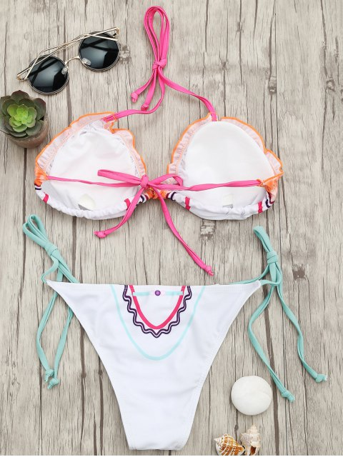 outfits Adjustable Tie Padded String Bikini Set - WHITE L Mobile