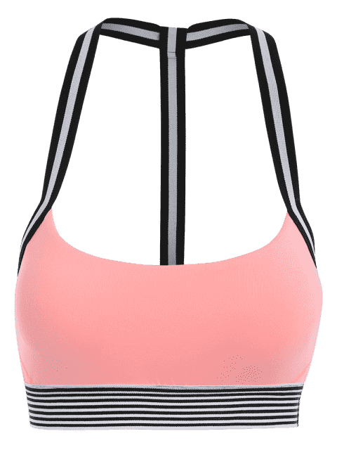 latest Contrast Band Racerback Sports Bra - PINK M Mobile