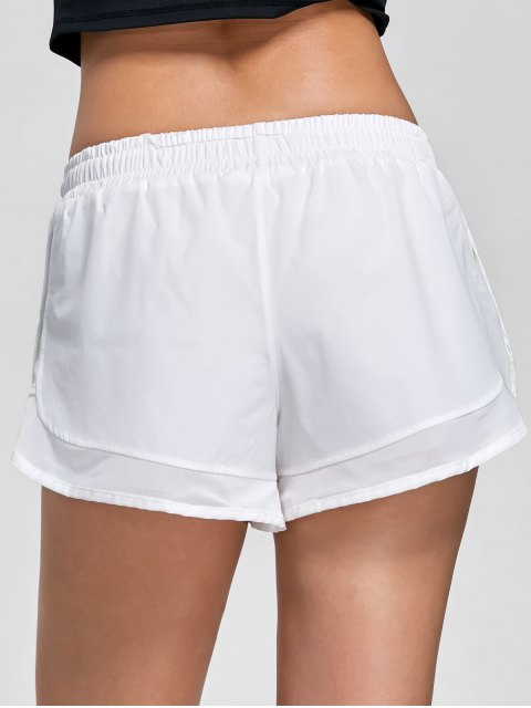 lady Mesh Double Layered Running Shorts - WHITE S Mobile