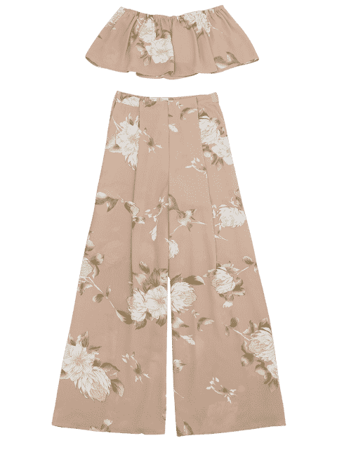 unique Smocked Tube Top and Slit Floral Wide Leg Pants - FLORAL L Mobile