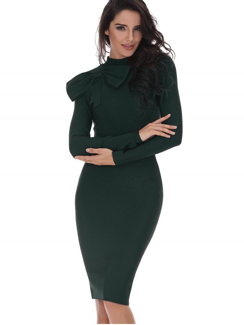 womens Bowknot Embellished Long Sleeve Fitted Dress - BLACKISH GREEN L Mobile