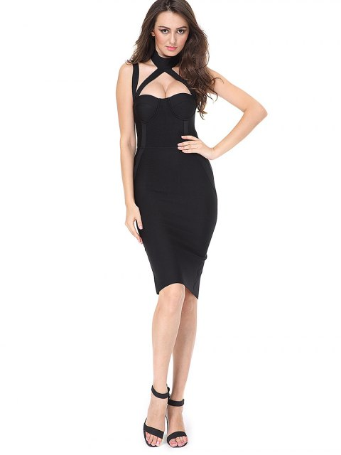 women's Cut Out Back Slit Fitted Dress - BLACK M Mobile