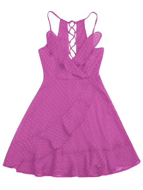 lady Ruffles Lace Up Mini Dress - PURPLE L Mobile