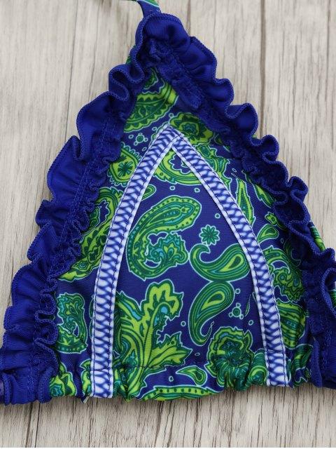 latest Frilled Paisley Print String Bikini Set - BLUE L Mobile