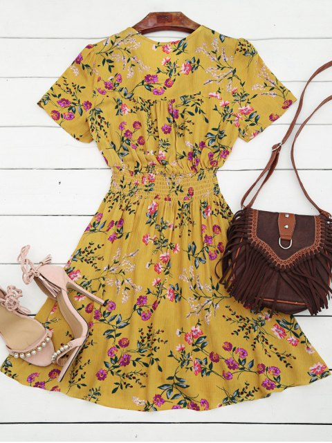 affordable Smocked Floral Button Up A Line Dress - YELLOW XL Mobile