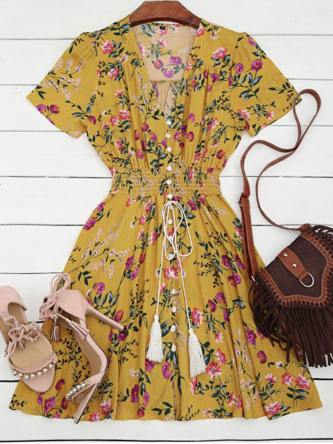 ladies Smocked Floral Button Up A Line Dress - YELLOW S Mobile