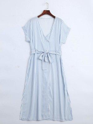 Vestido A Cuadros Medio Abotonado Stripes - Raya M