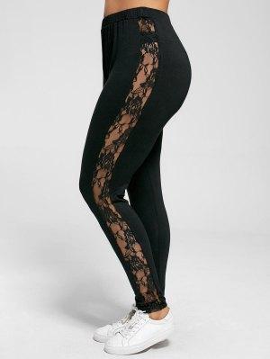 Plus Size Lace Insert Sheer Leggings