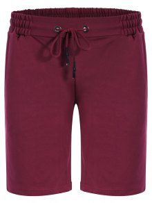 Side Pocket Drawstring Men Bermuda Shorts - Purplish Red M