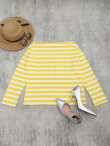 Off The Shoulder Striped Drop Shoulder Tee - Yellow S