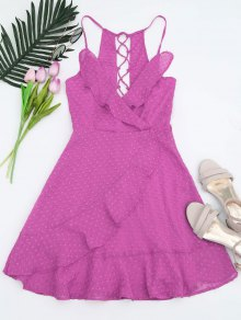 Ruffles Lace Up Mini Dress - Purple L
