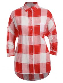 Checked Plus Size High Low Shirt - Red 3xl